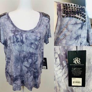 NWT Rock & Republic tie dye shirt with studs